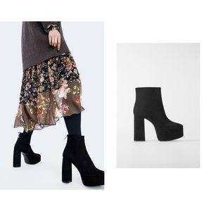 Zara Black Suede Platform Heels 9/ 40
